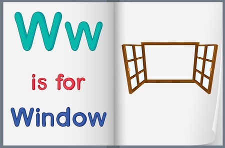 phonics: illustration of drawing of window on a book on a white background Illustration