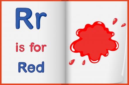 phonetics: illustration of red color splash on a book on a white background Illustration