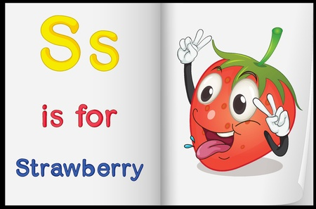 illustration of drawing of strawberry on a book on a white background Stock Vector - 16667366
