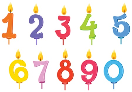 number nine: illustration of birthday candles on a white background