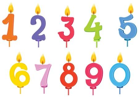 számok: illusztrációja születésnapi gyertyák, fehér alapon Illusztráció