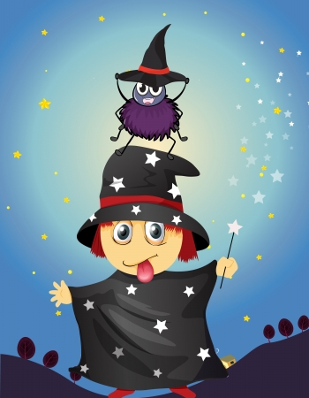 illustration of a wizard and a spider Vector