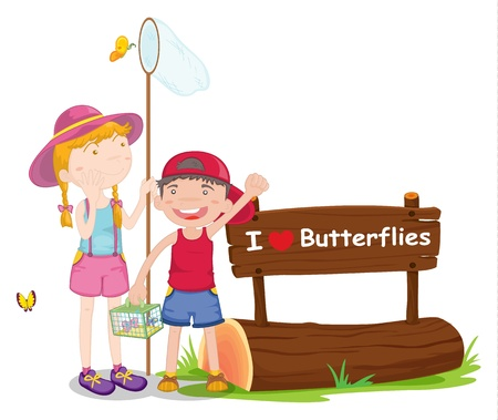 illustration of kids and a notice board on a white background Vector