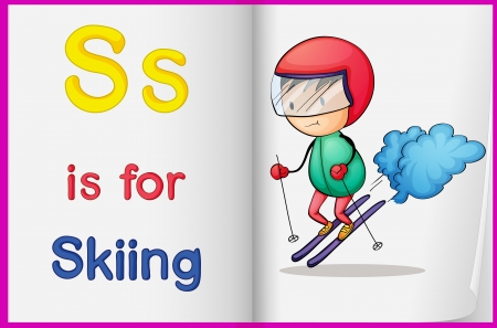 letters clipart: illustration of drawing of skiing on a book on a white background