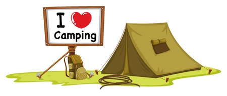 camping: illustration of a tent and a notice board on a white background
