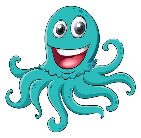 funny creature: illustration of an octopus on a white background Illustration