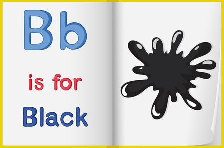 phonics: illustration of black color splash on a book on a white background Illustration