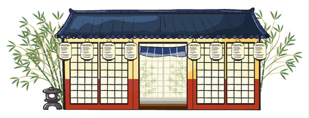 asian business people: illustration of an asian house on a white background