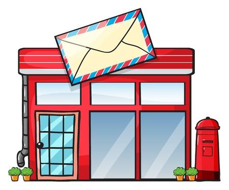 illustrazione di un ufficio postale su uno sfondo bianco