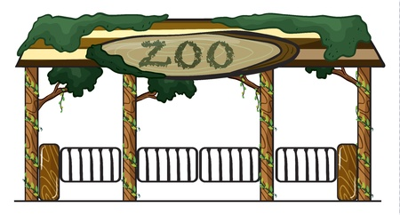 illustration of a zoo entrance on a white background Vector