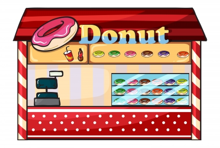 illustration of a donut shop on a white background Vector