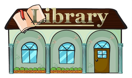 green buildings: illustration of a library on a white background Illustration
