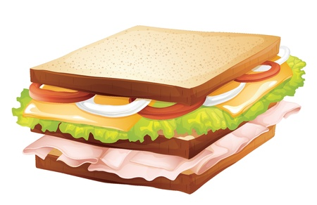 ham and cheese: illustration of a sandwich on a white background Illustration