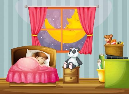 pl�schtier: Illustration eines M�dchens in einem sch�nen Bett-Zimmer