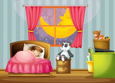 asleep: illustration of a girl in a beautiful bed room