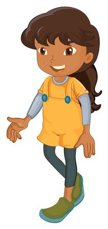 брюнет: иллюстрация девочка на белом фоне
