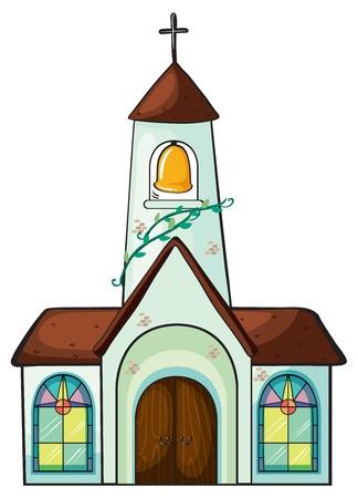 window church: illustrazione di una chiesa su uno sfondo bianco Vettoriali