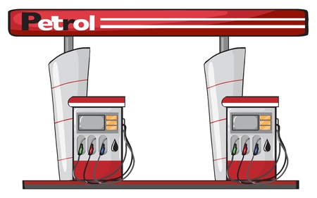 illustration of a petrol station on a white background Vector