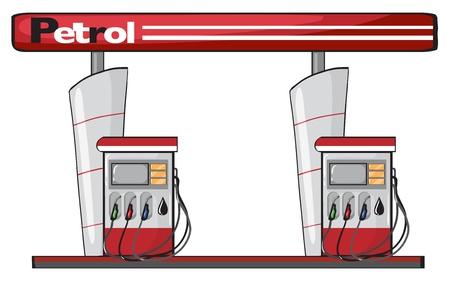 gasoline station: illustrazione di un distributore di benzina su uno sfondo bianco
