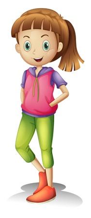 fille pull: illustration d'une fille sur un fond blanc