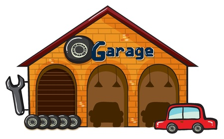 car in garage: illustration of a garage on a white background