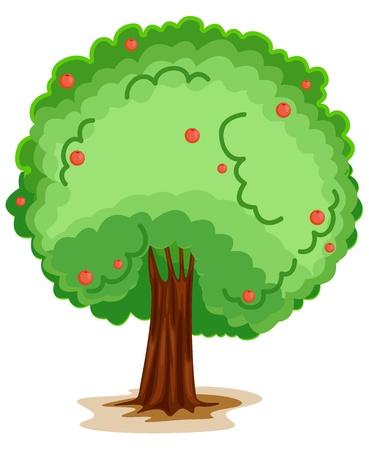 manzana caricatura: ilustración de un árbol sobre un fondo blanco Vectores