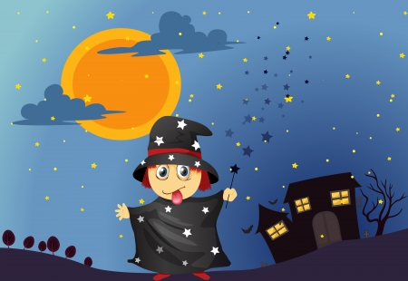 illustration of a wizard in the night Vector