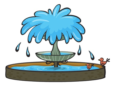 water birds: illustration of a fountain on a white background