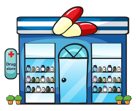 store window: illustratie van een drogisterij op een witte achtergrond