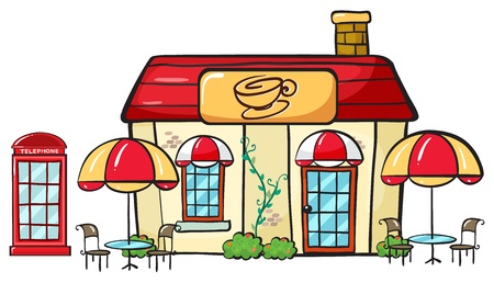 illustration of a coffee shop on a white background Vector