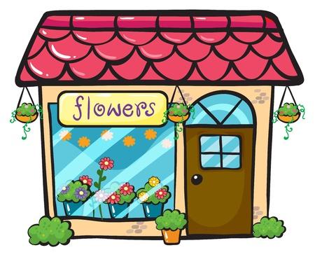 blumen cartoon: Illustration eines Blumenladen auf einem wei�en Hintergrund