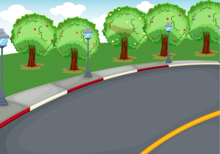 avenue: illustration of a road in a beautiful nature