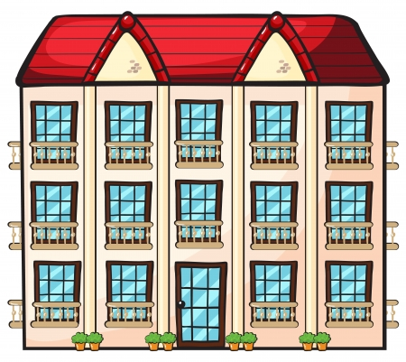 apartment building: illustration of a house on a white background