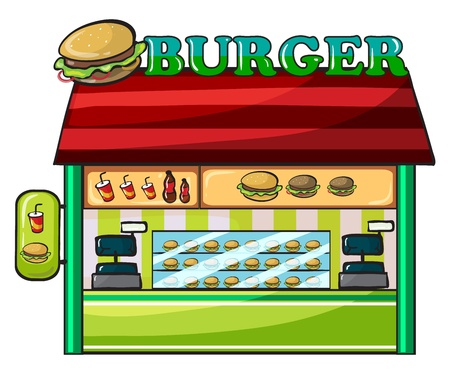 junkfood: illustration of a fastfood restaurant on a white background