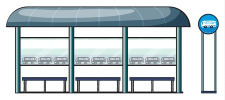 bus stop: illustration of a bus stop on a white background Illustration