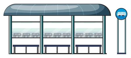 parada de autobus: ilustración de una parada de autobús en un fondo blanco Vectores