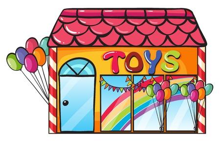 toy shop: illustrazione di un negozio di giocattoli su uno sfondo bianco