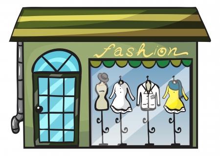 kledingwinkel: illustratie van een kledingwinkel op een witte achtergrond