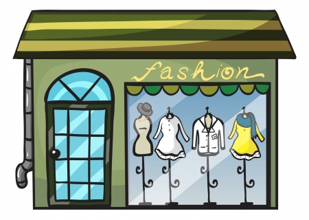 clothing store: illustration of a clothing store on a white background