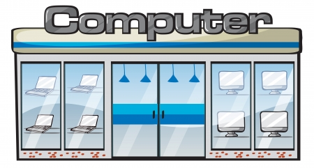 illustration of a computer store on a white background Vector
