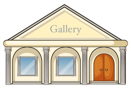 cartoon building: illustration of a gallery on a white background