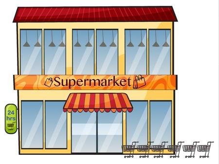 illustration d'un supermarché sur un fond blanc Vecteurs