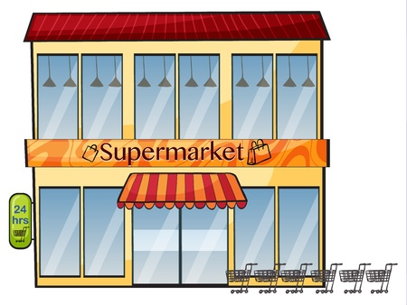trolly: illustration of a supermarket on a white background Illustration