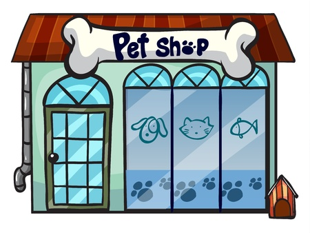 animals and pets: illustration of a pet shop on a white background