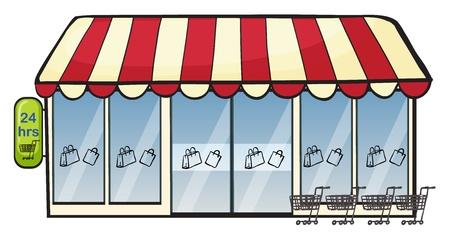 Ilustración de una tienda en un fondo blanco Ilustración de vector