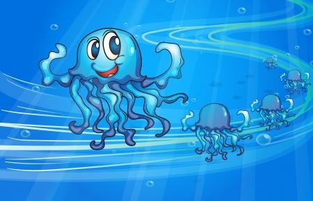 dept: illustration of a jellyfish underwater