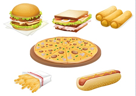 illustration of  various foods on a white background Vector