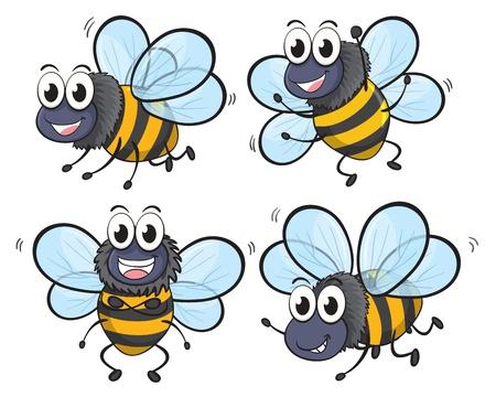 sting: Illustration of bees on a white background Illustration