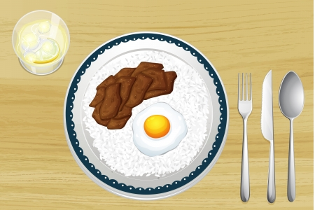 reis gekocht: Illustration von Reis, Ei und Schweinefleisch auf einem Teller
