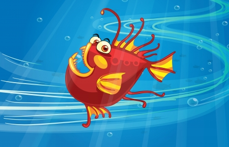 Illustration of a scary fish in the blue sea Vector